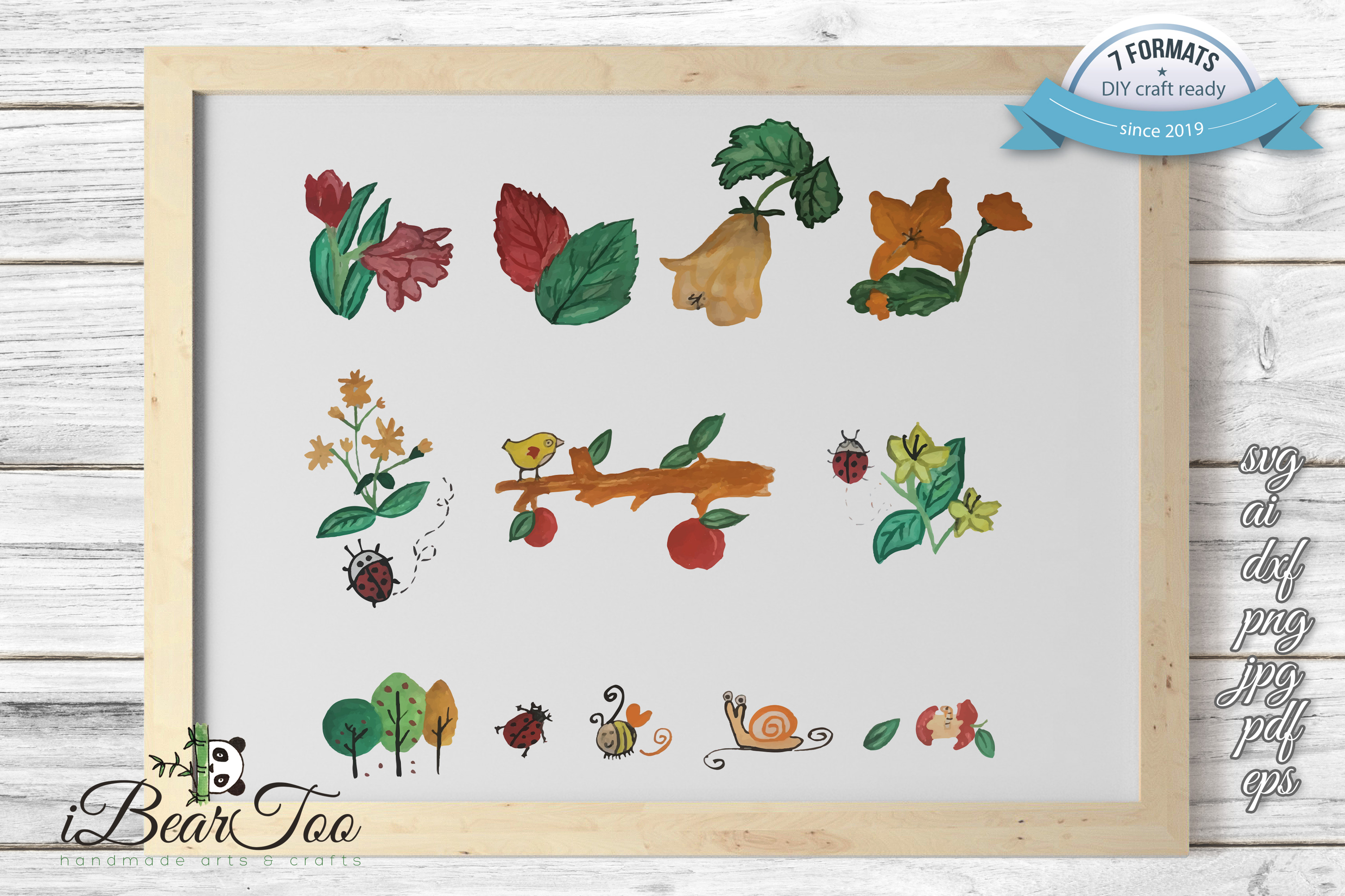 Nature SVG Bundle Watercolor Clipart Drawing Vector Cutfiles example image 2