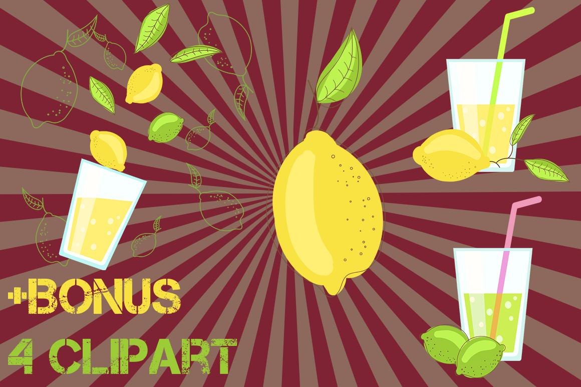 Lemon citrus pattern - set of 8 example image 2