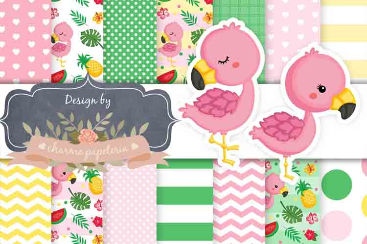 Flamingo Digital Paper, Tropical Background example image 1