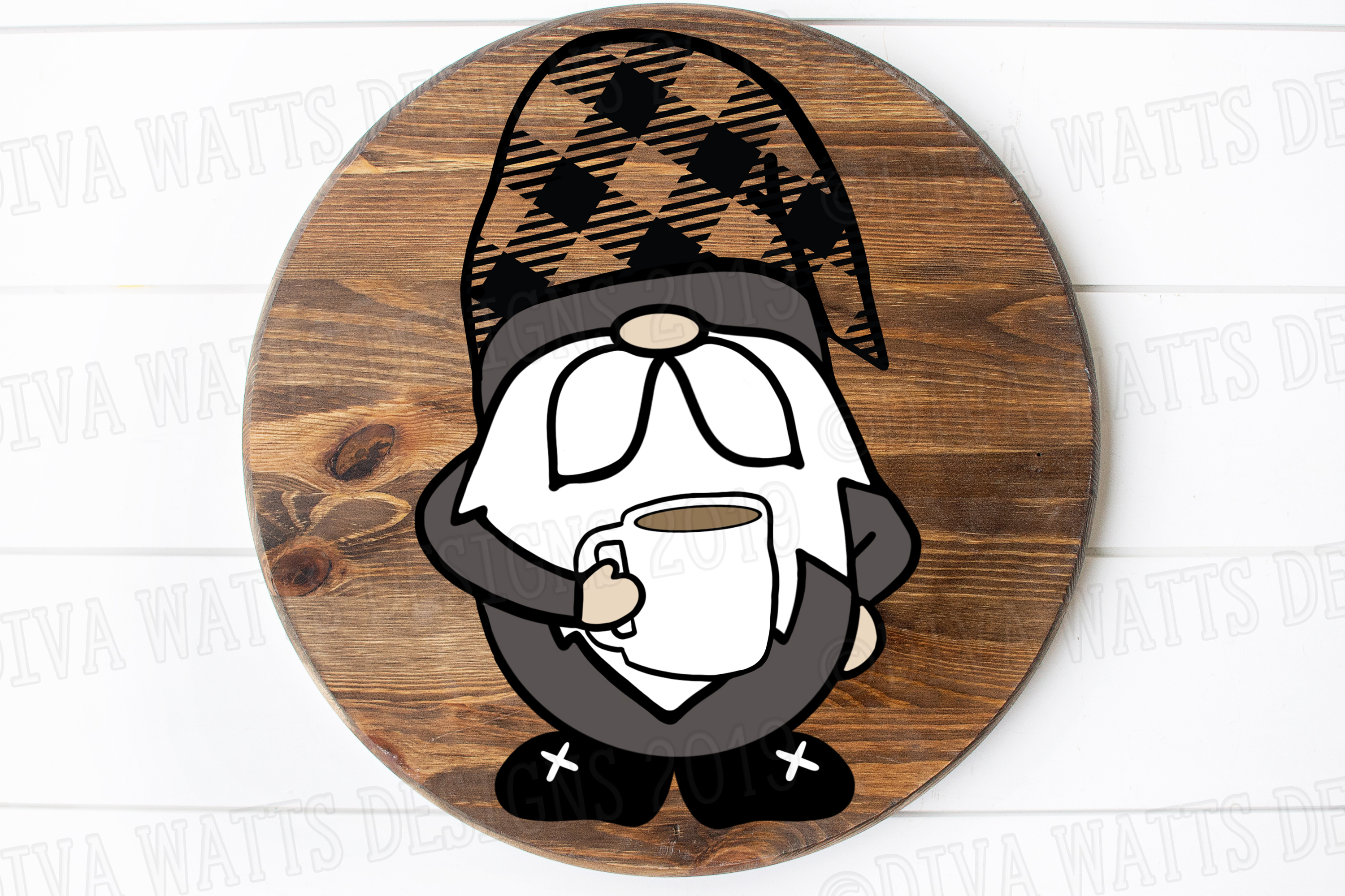 Farmhouse Coffee Gnome with Buffalo Check Hat Cut File SVG example image 2