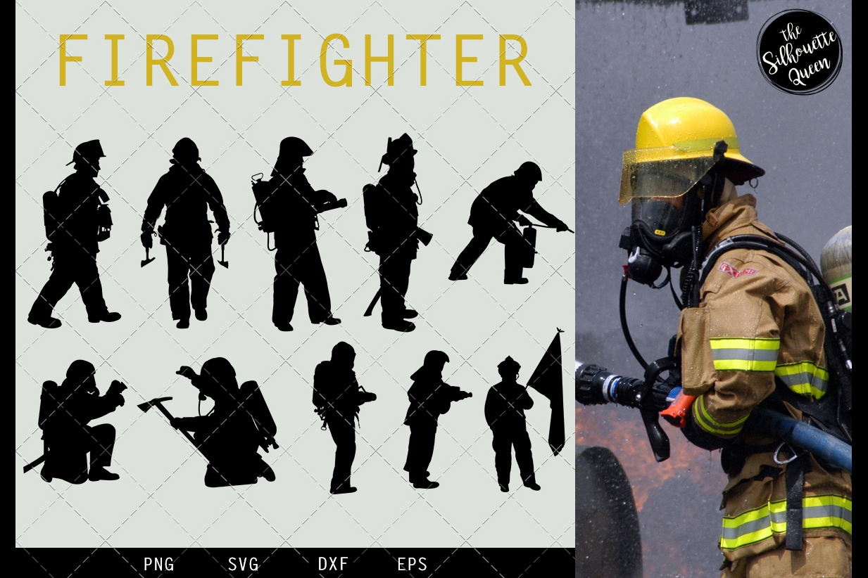 Fire Fighter svg file, Fireman svg cut file example image 1