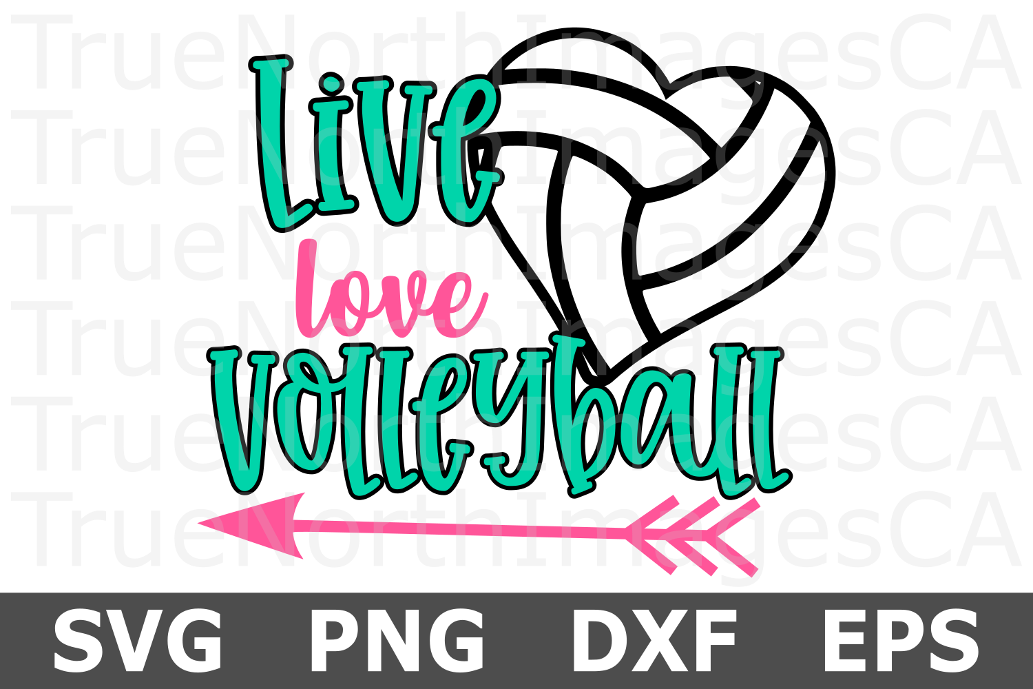 Live Love Volleyball Heart- A Sports SVG Cut File example image 2