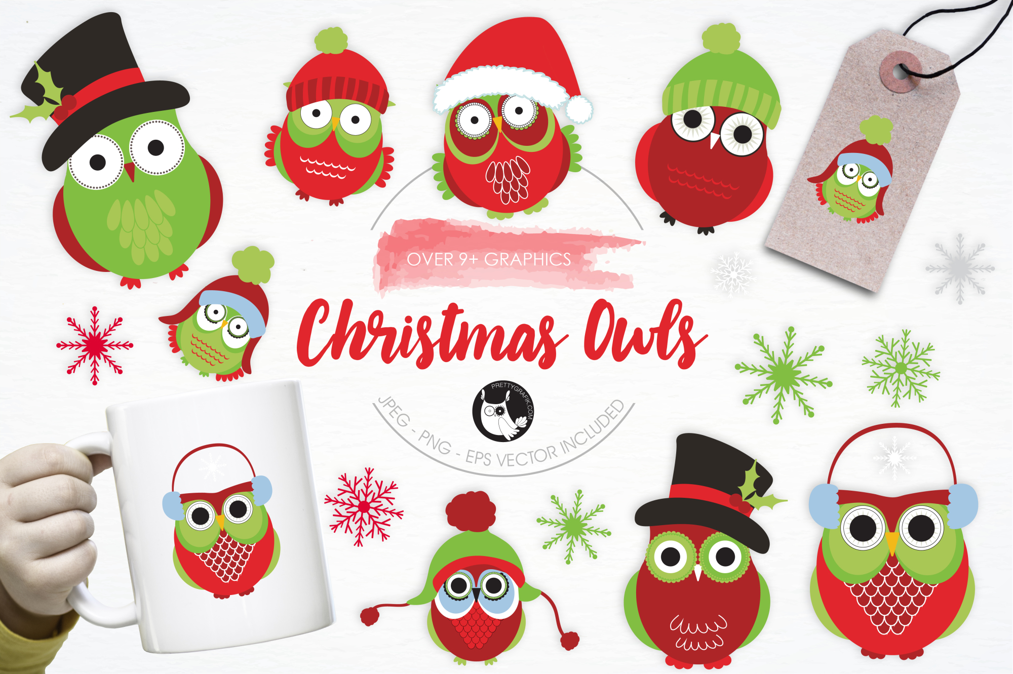 Christmas Owls graphics and illustrations example image 1