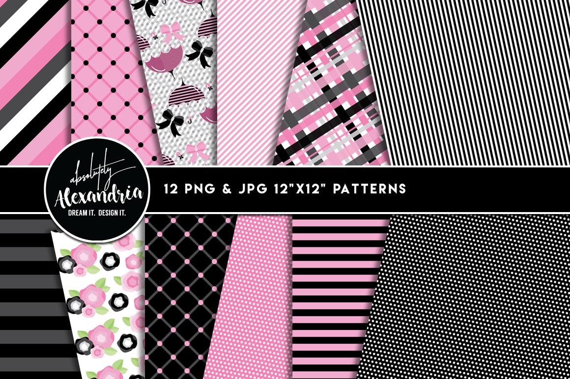 Pink Parisian Clipart Graphics & Digital Paper Patterns Bundle example image 2