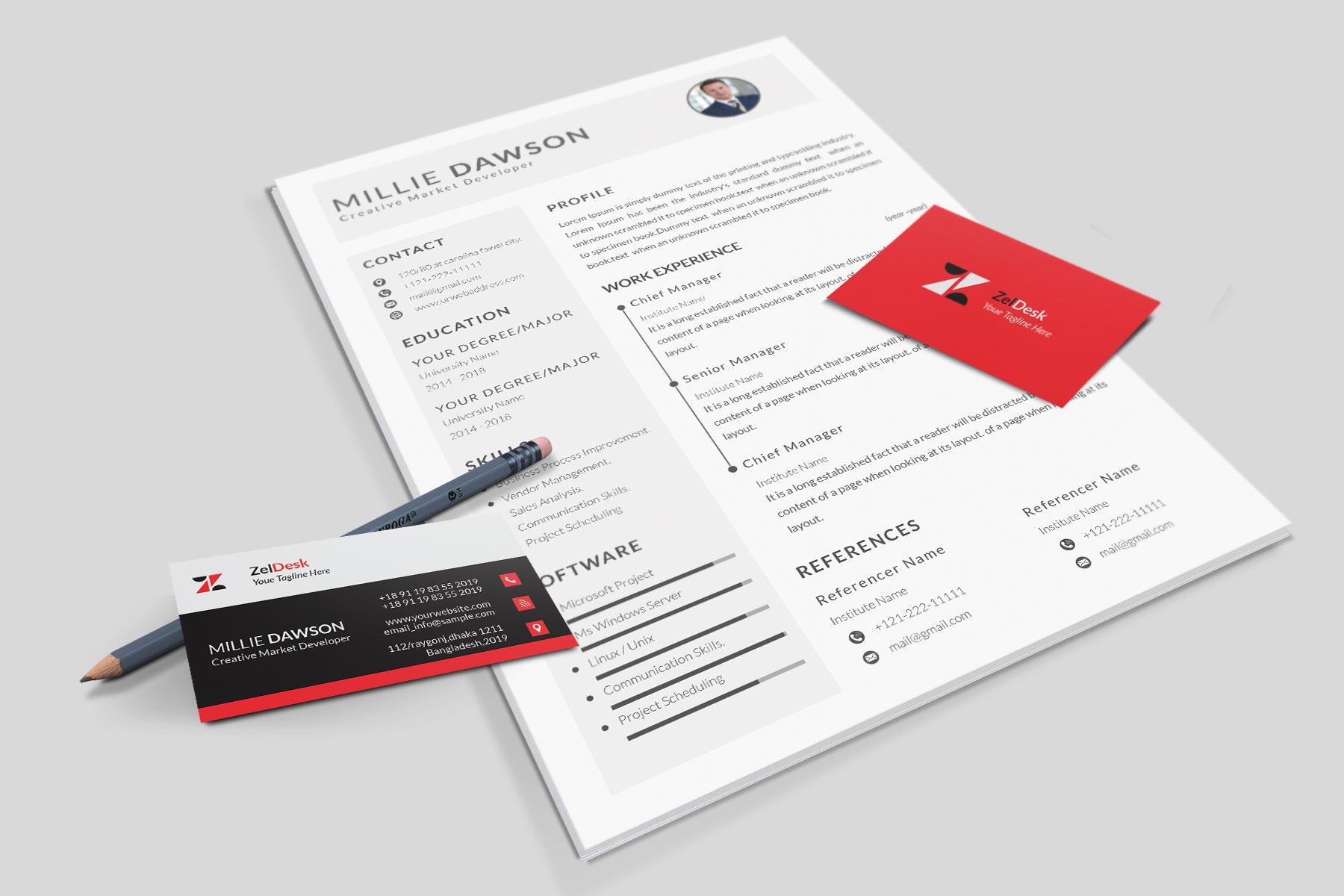 Professional Cv Resume Bonus business card Word/PSD,AI example image 13