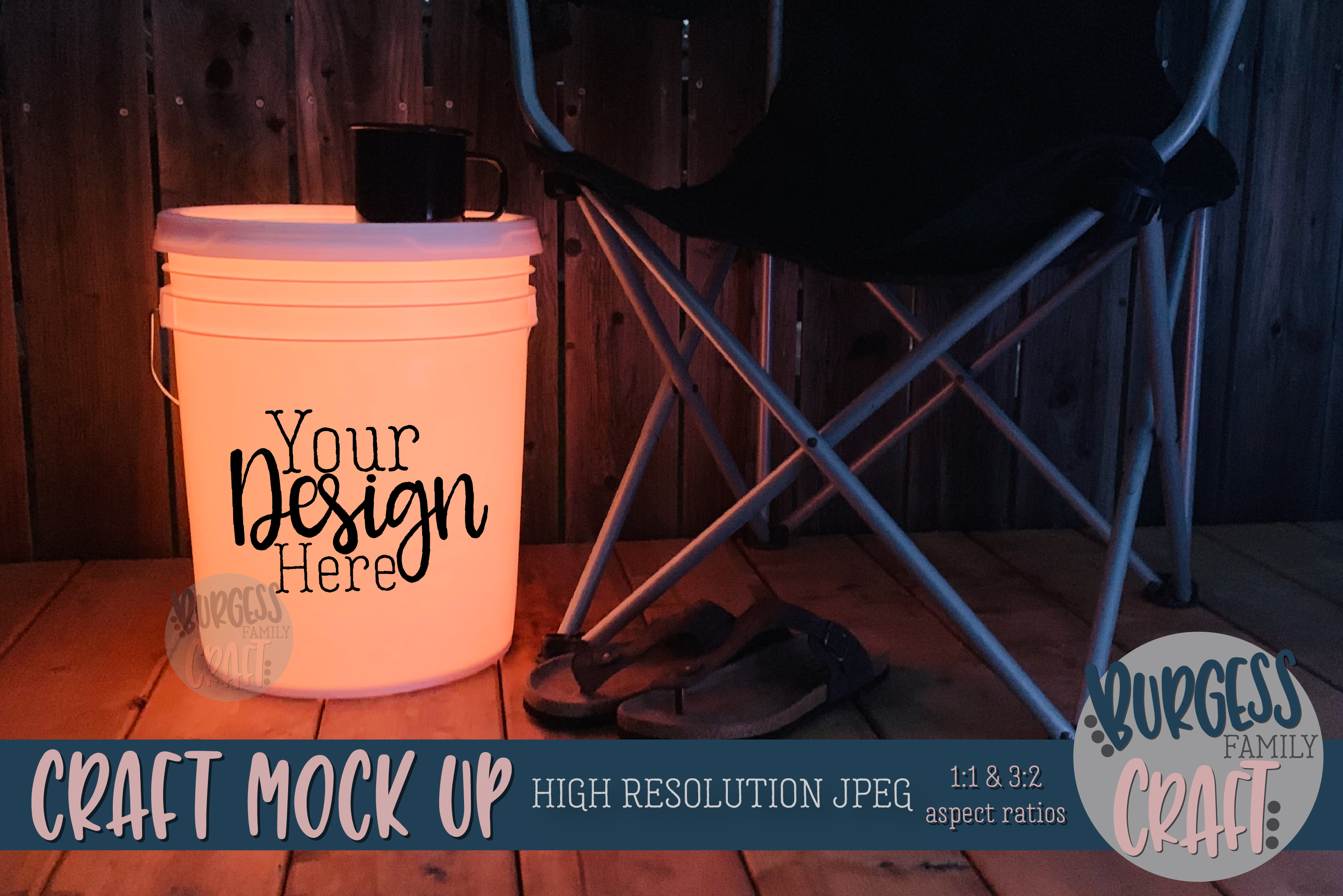 Bundle of Camping bucket mock ups |High Resolution JPEG example image 5