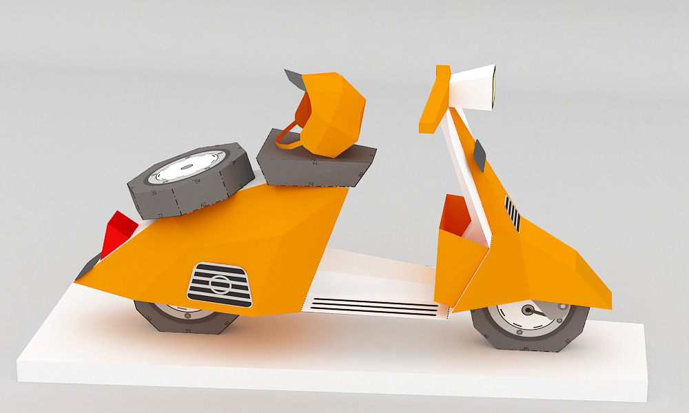 DIY Paper Scooter - 3d papercraft example image 3