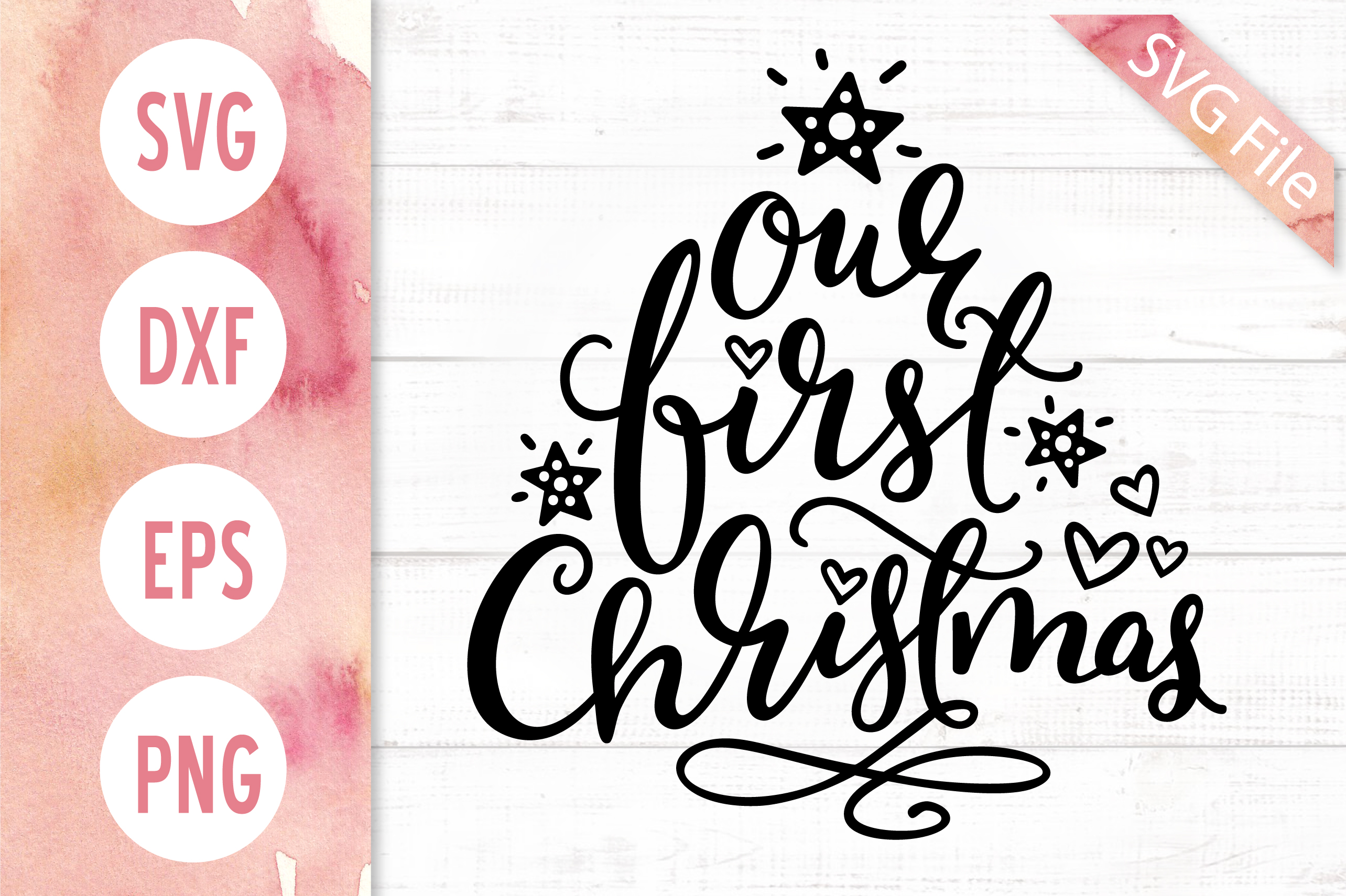 Family Christmas Quote SVG DXF PNG EPS Our First Christmas example image 2