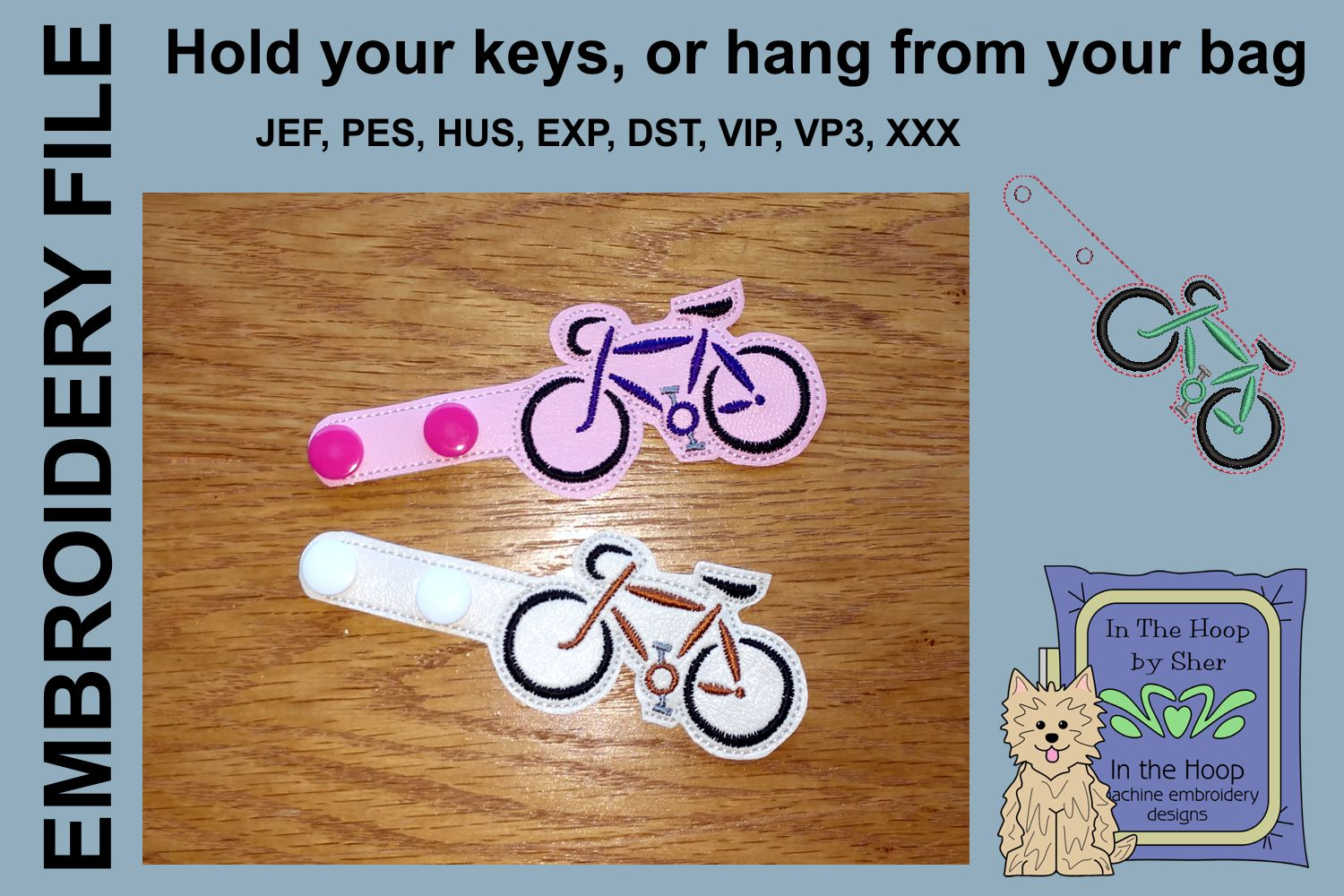ITH Road Bike Key Fob - Embroidery Design example image 2
