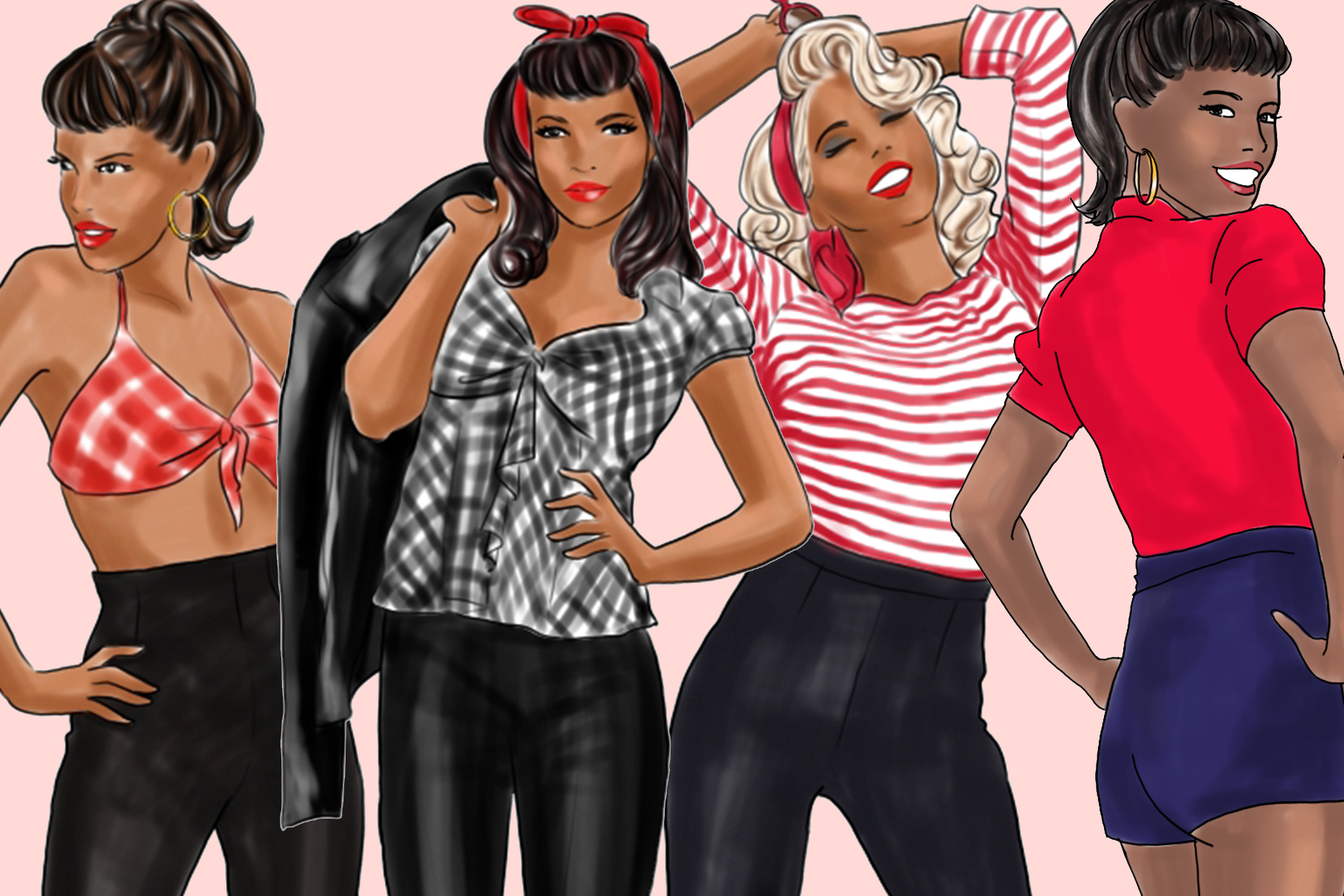 Fashion illustration clipart - Pin up Girls - Dark Skin example image 3