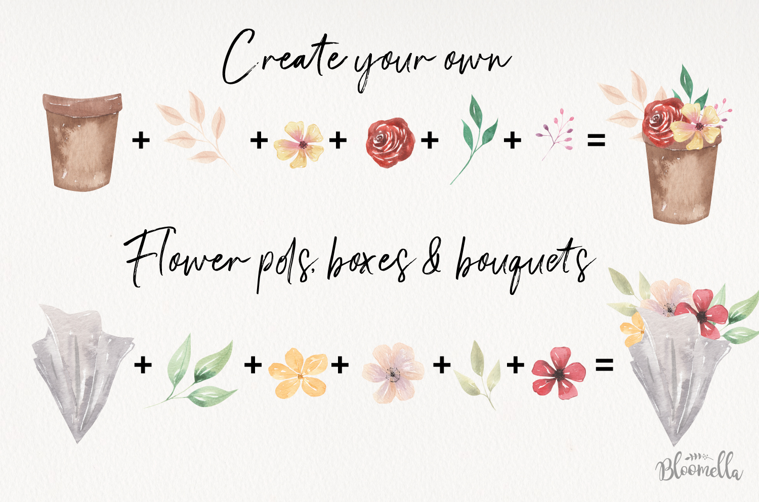 Watercolor Create Your Own - Flower Pots Boxes Bouquets example image 3