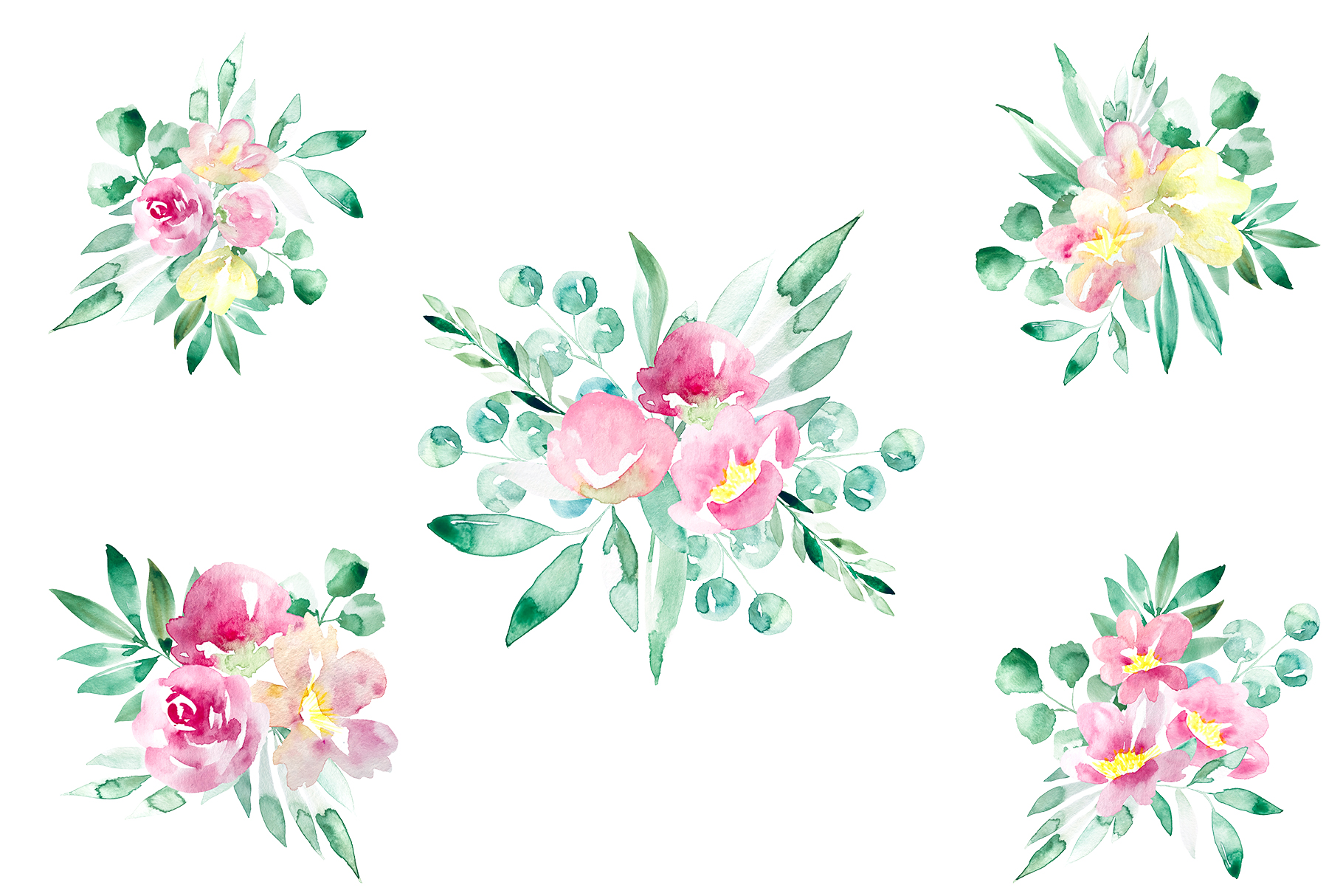 Pastel watercolor spring floral illustrations example image 5