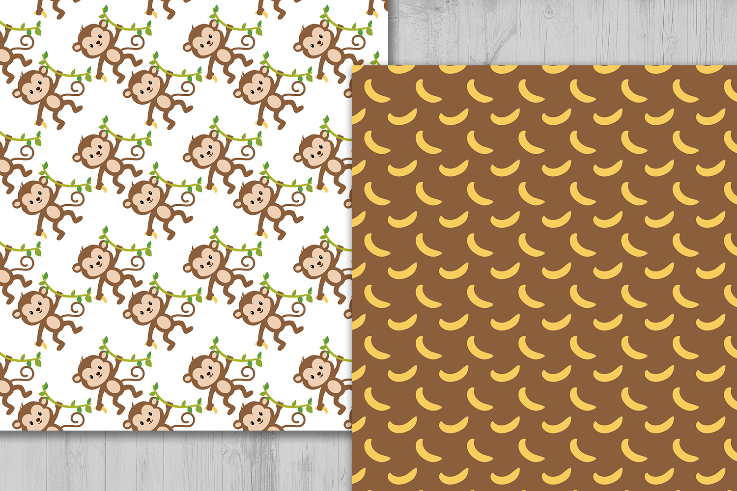 Monkey Digital Paper, Animals Background, Banana Pattern, Jungle Scrapbooking Papers, Safari Background, Zoo Pattern, Printables, Monkey Clipart. example image 2
