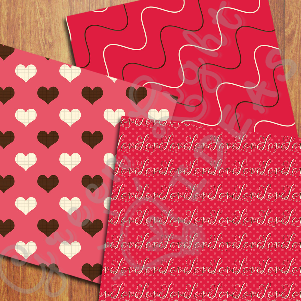 Sweet Valentine Digital Papers, Valentine's Day Backgrounds, Love Scrapbook Papers  example image 3