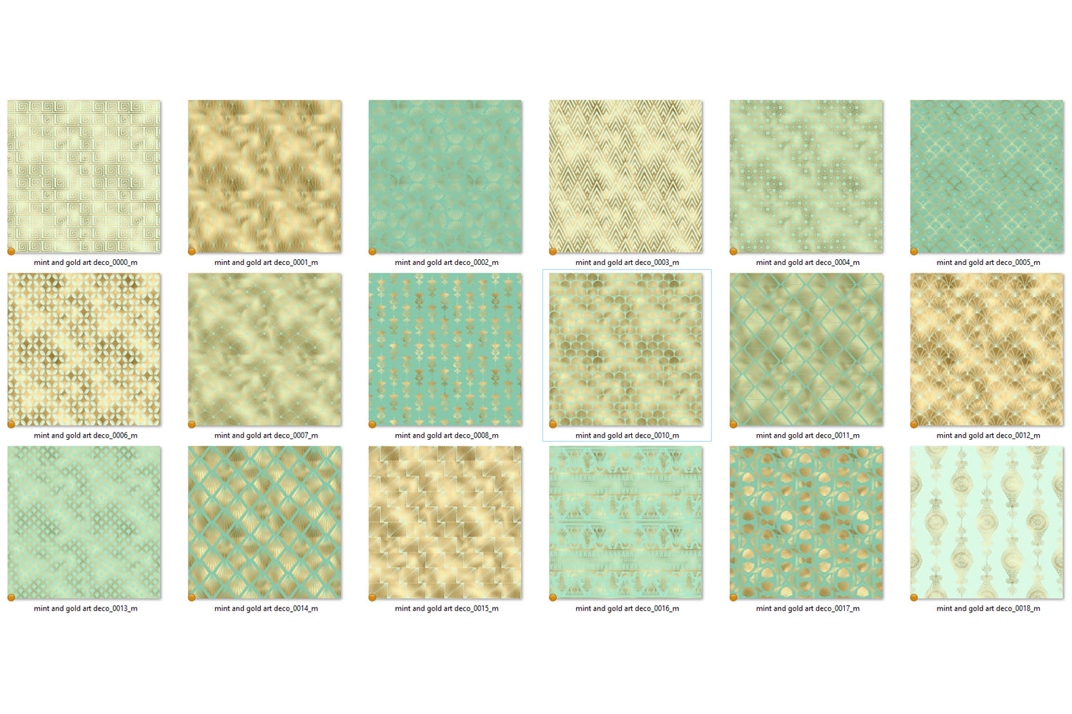 Mint and Gold Art Deco Digital Paper example image 5