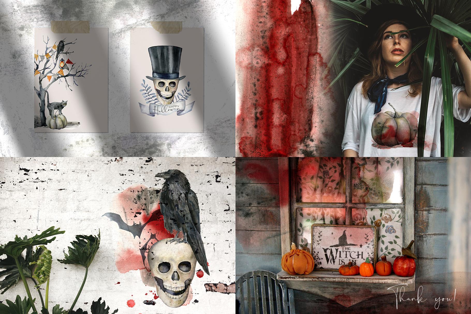 Halloween night. Watercolor clip art example image 11