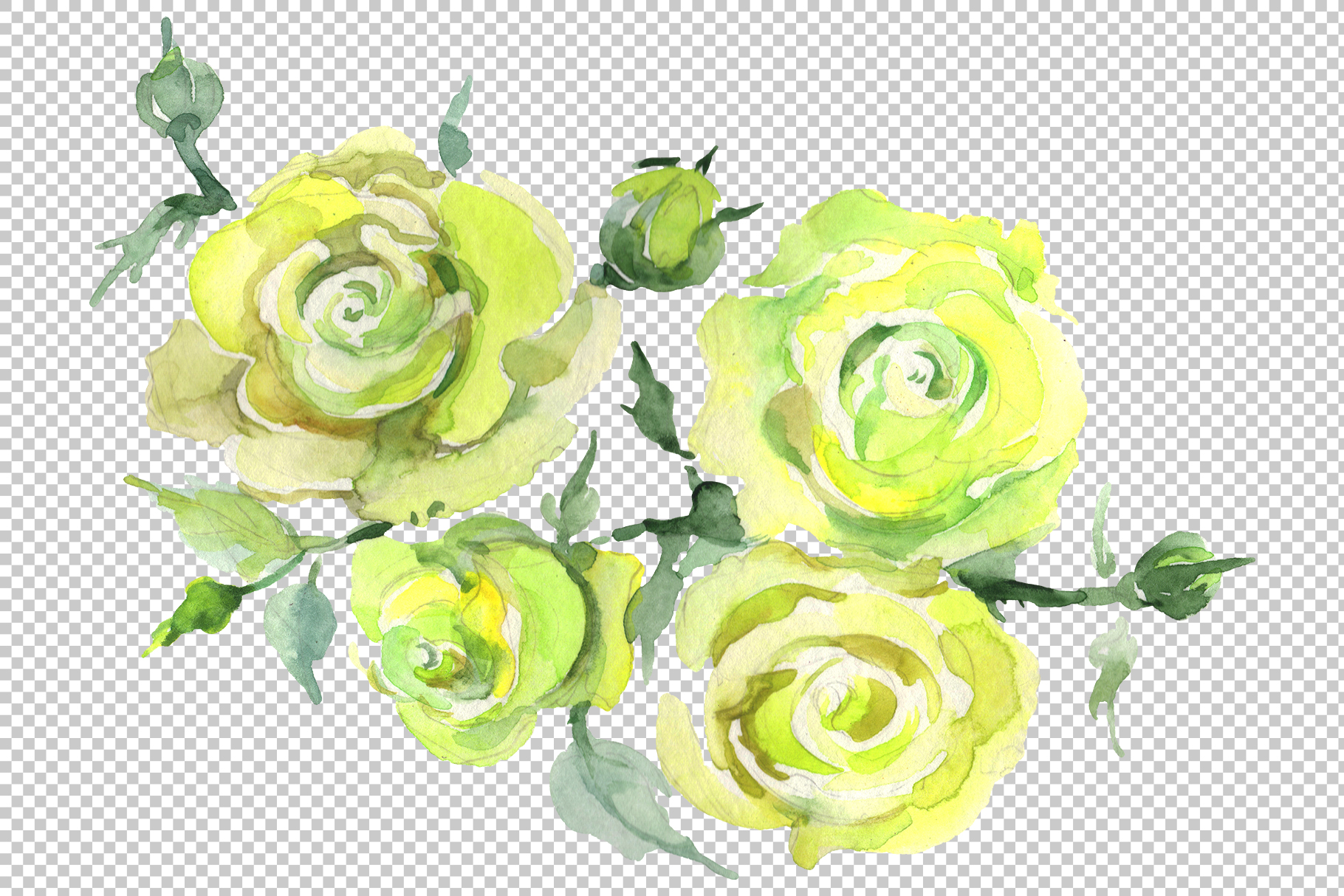 Bouquet with roses romance watercolor png example image 5