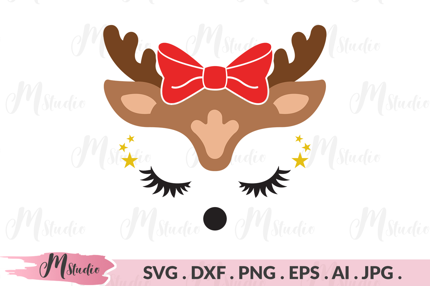 Reindeer bow svg example image 1