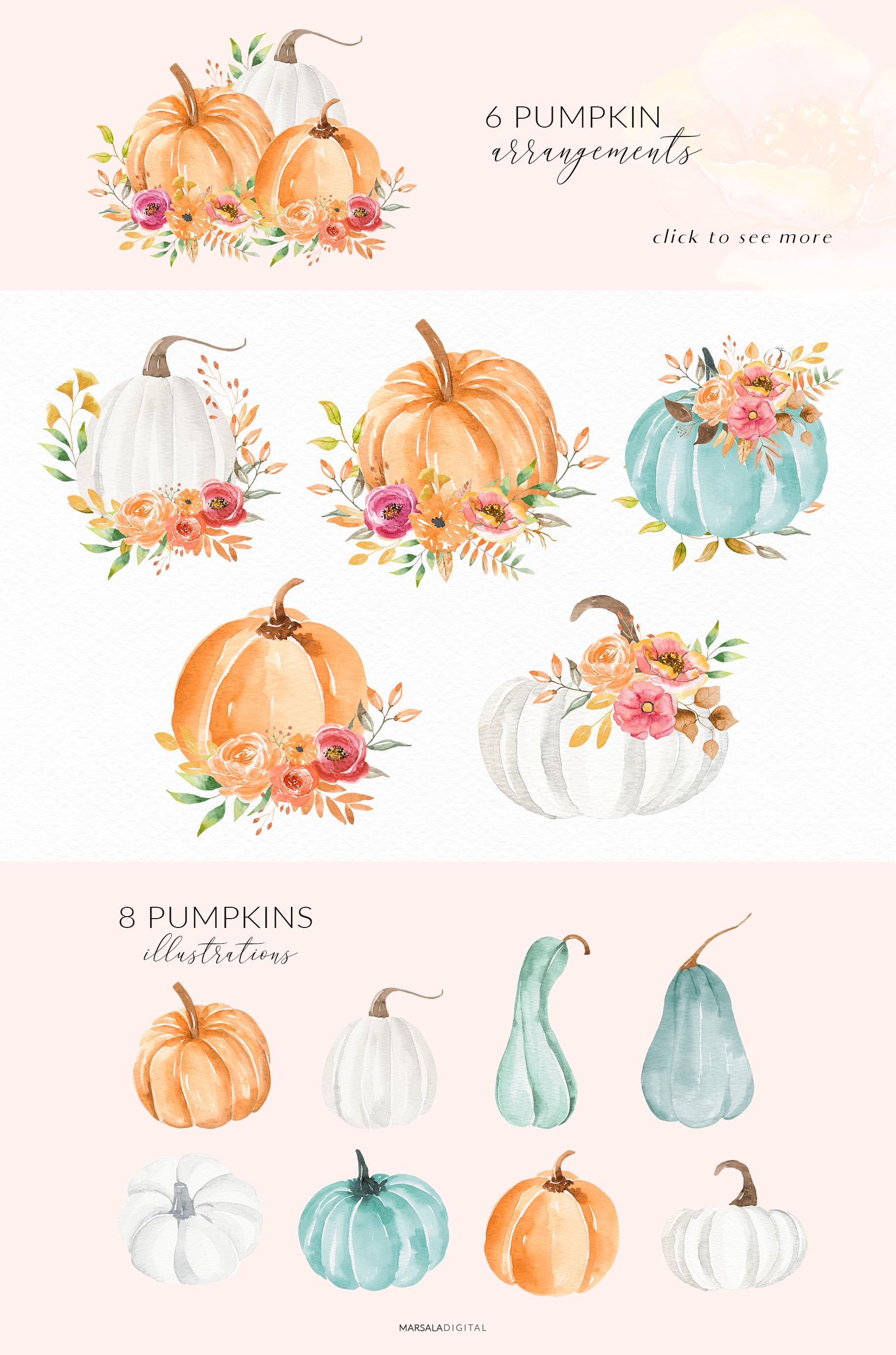 Autumn Watercolor Collection Pumpkins Arrangements example image 4