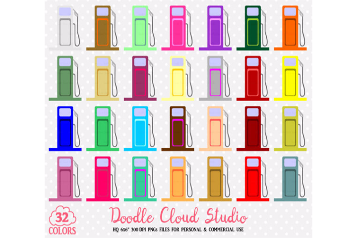 32 Colorful Gas Station Clipart Diesel Gas Pump Stickers Travel Road Icons Rainbow PNG with Transparent Background Personal & Commercial Use example image 1