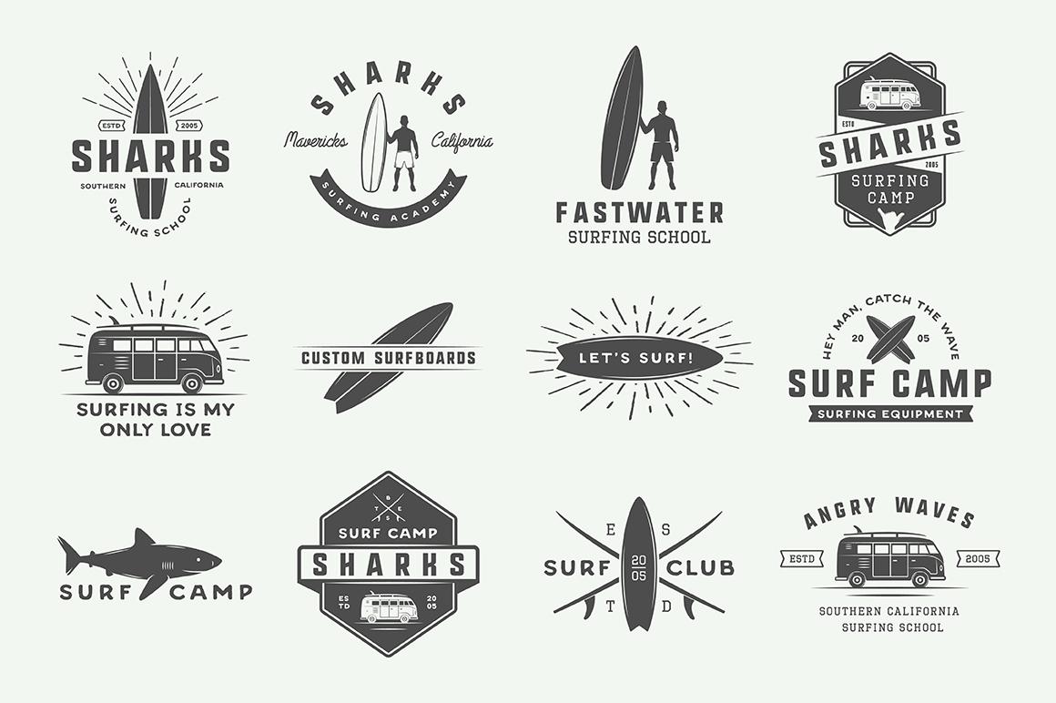 Vintage Surfing Emblems Bundle example image 9