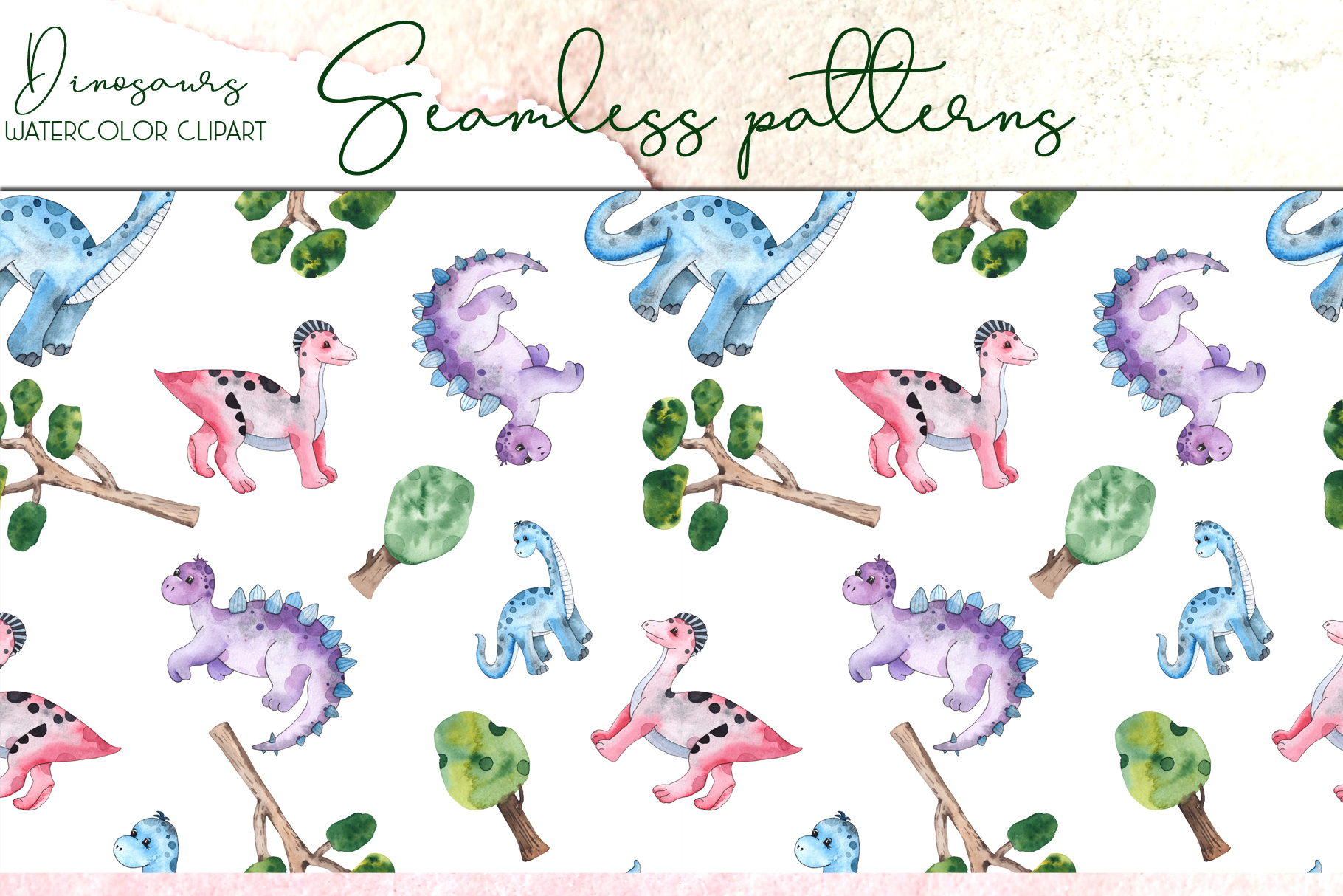Dinosaurs. Watercolor clipart example image 14