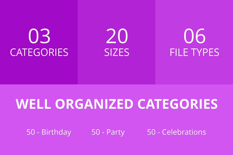 150 Birthday Line Icons example image 3
