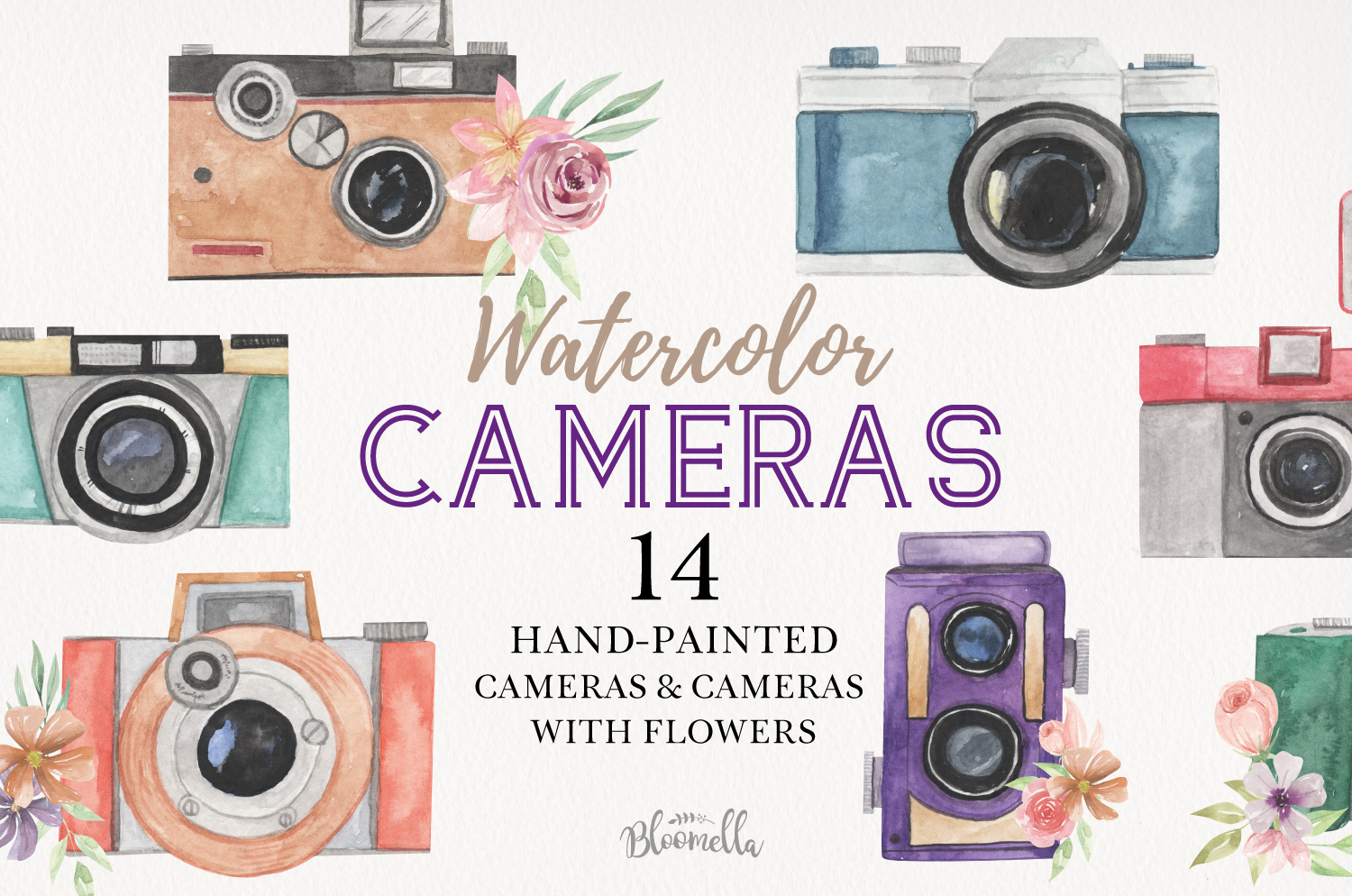Cameras Watercolor Elements Photo Flowers Photography example image 1