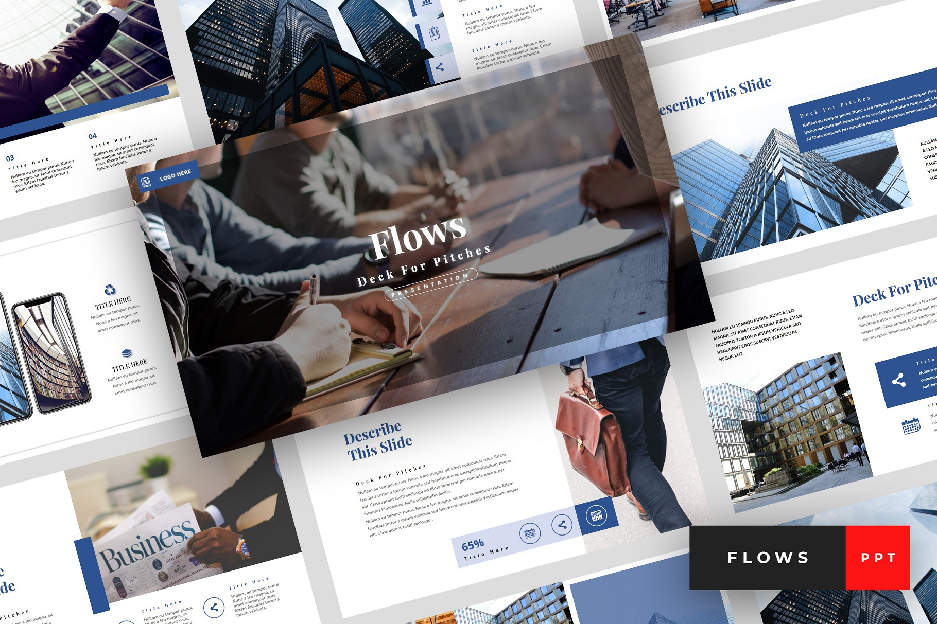 Flows - Pitch Deck PowerPoint Template example image 1