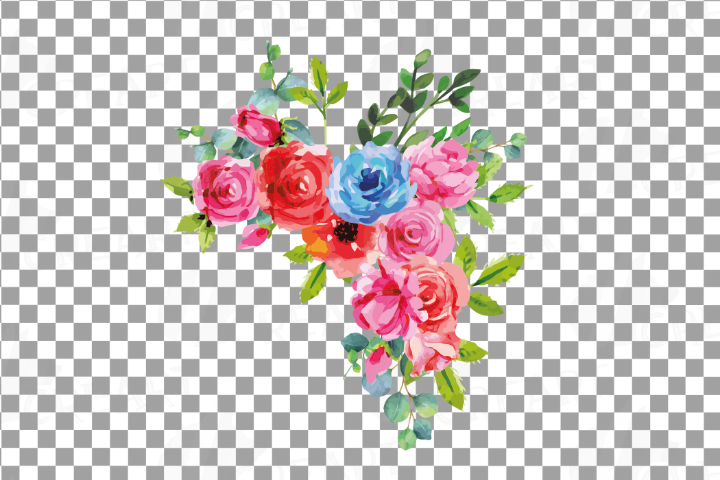 Boho pink and blue watercolor wedding bouquets, floral png example image 12