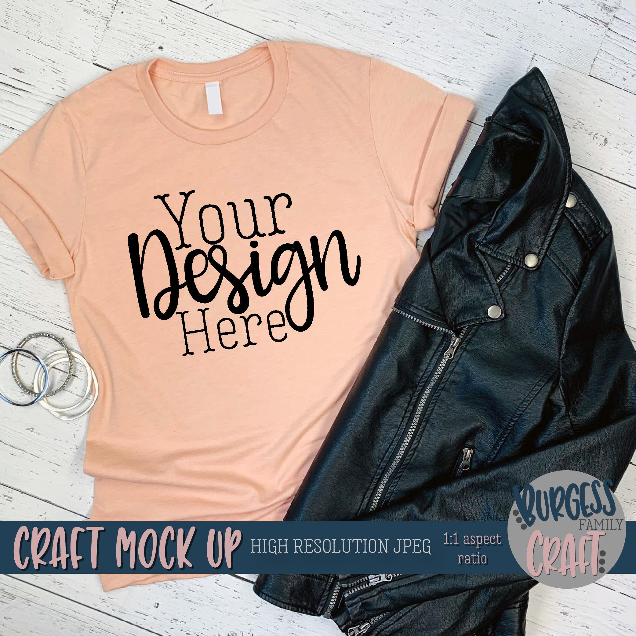 Edgy peach 3001 shirt Craft mock up | High Res JPEG example image 2