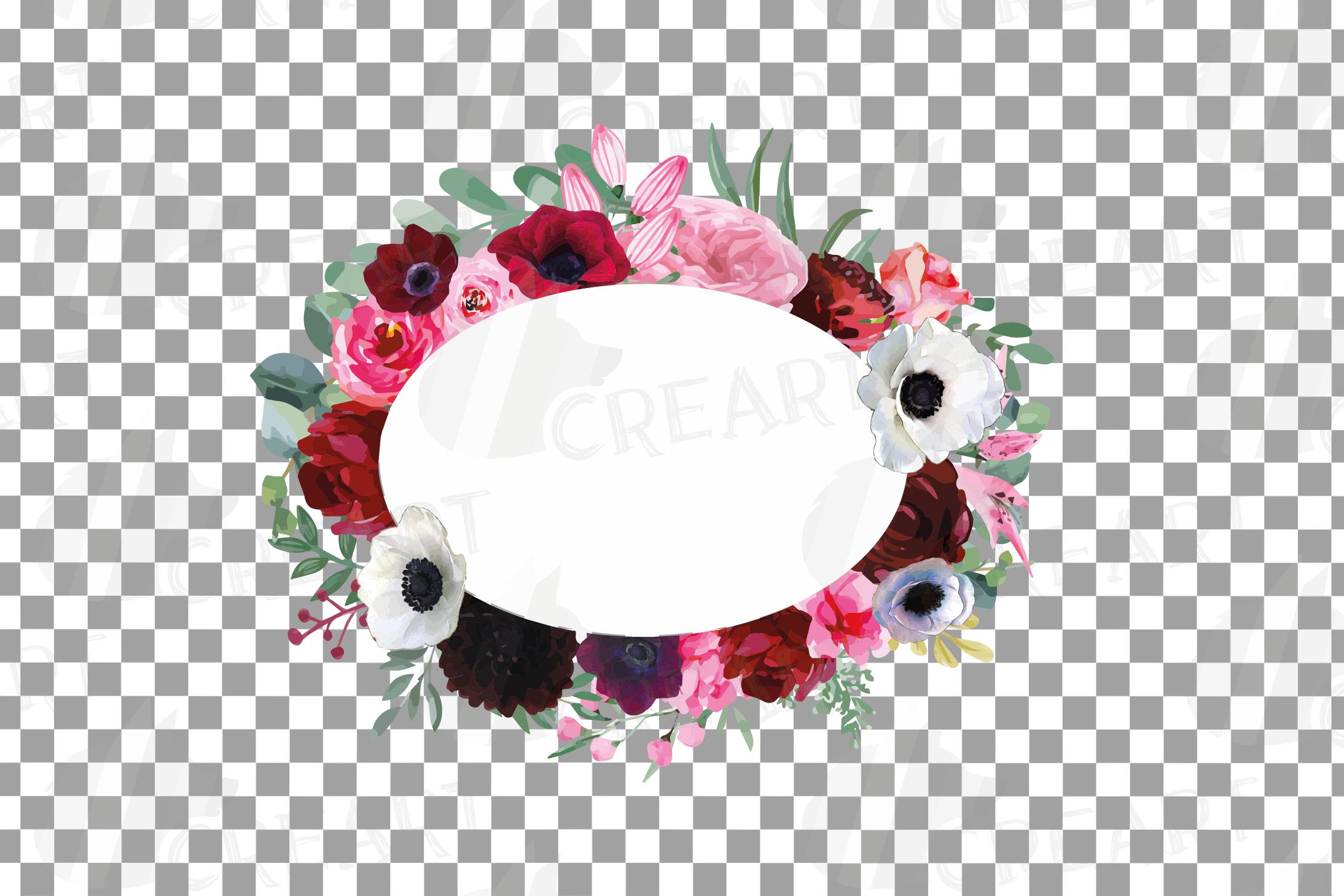 Watercolor elegant floral borders, rose, anemone frames example image 11