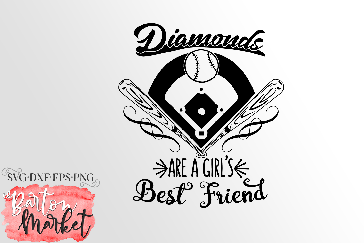 Diamonds Are A Girl's Best Friend SVG DXF EPS PNG example image 2