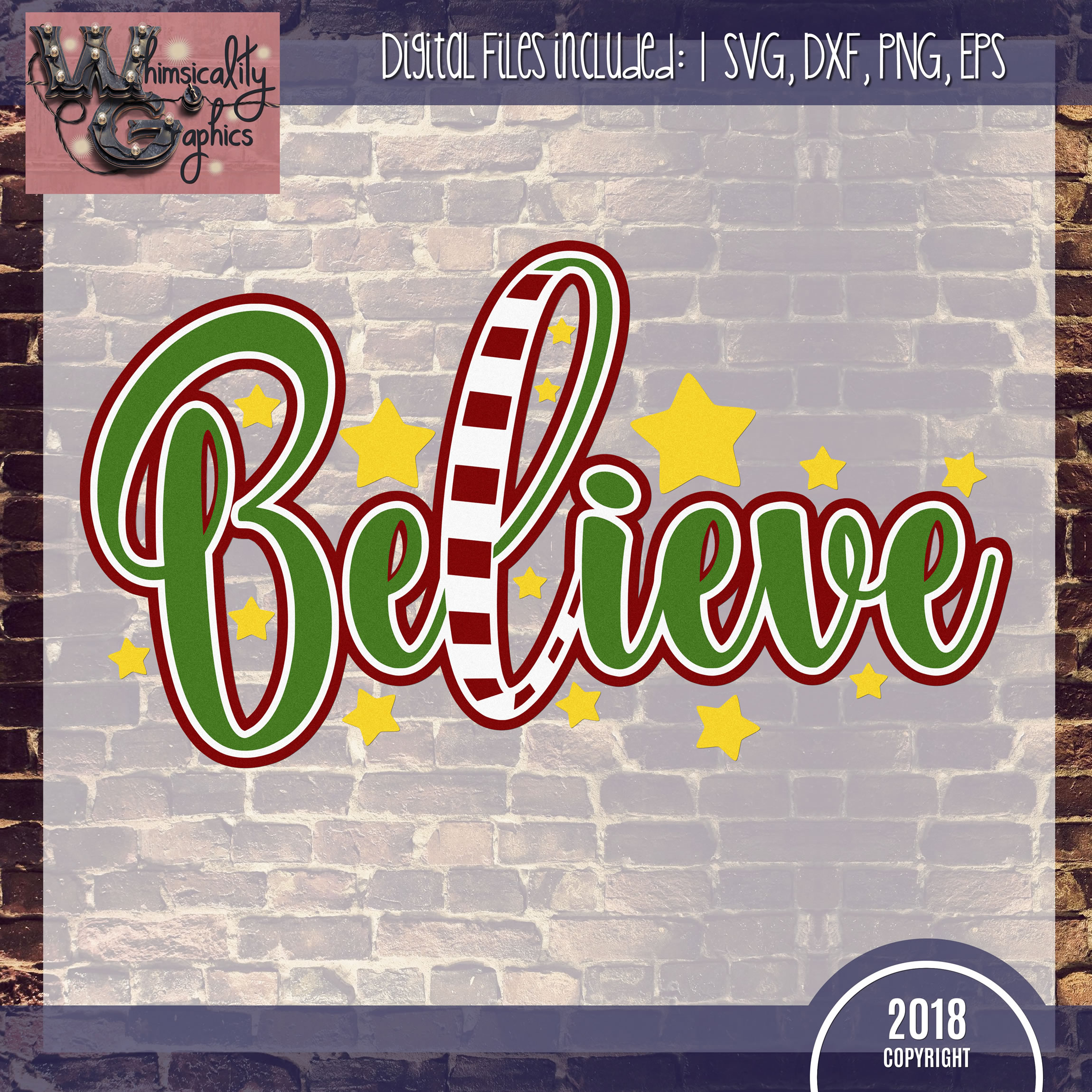 Believe Christmas Design SVG DXF PNG JPG Comm example image 2