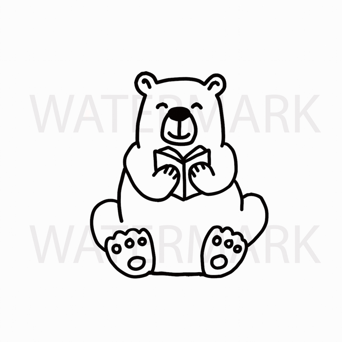 Bear Reading Book with Bear Holding a Heart - SVG/JPG/PNG example image 3