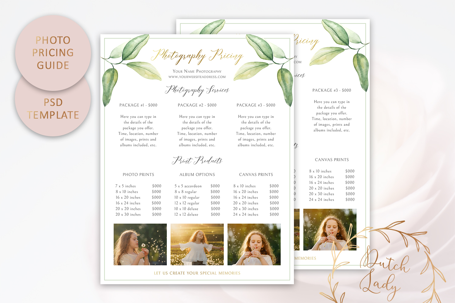 PSD Photography Pricing Guide Template Design #10 example image 1