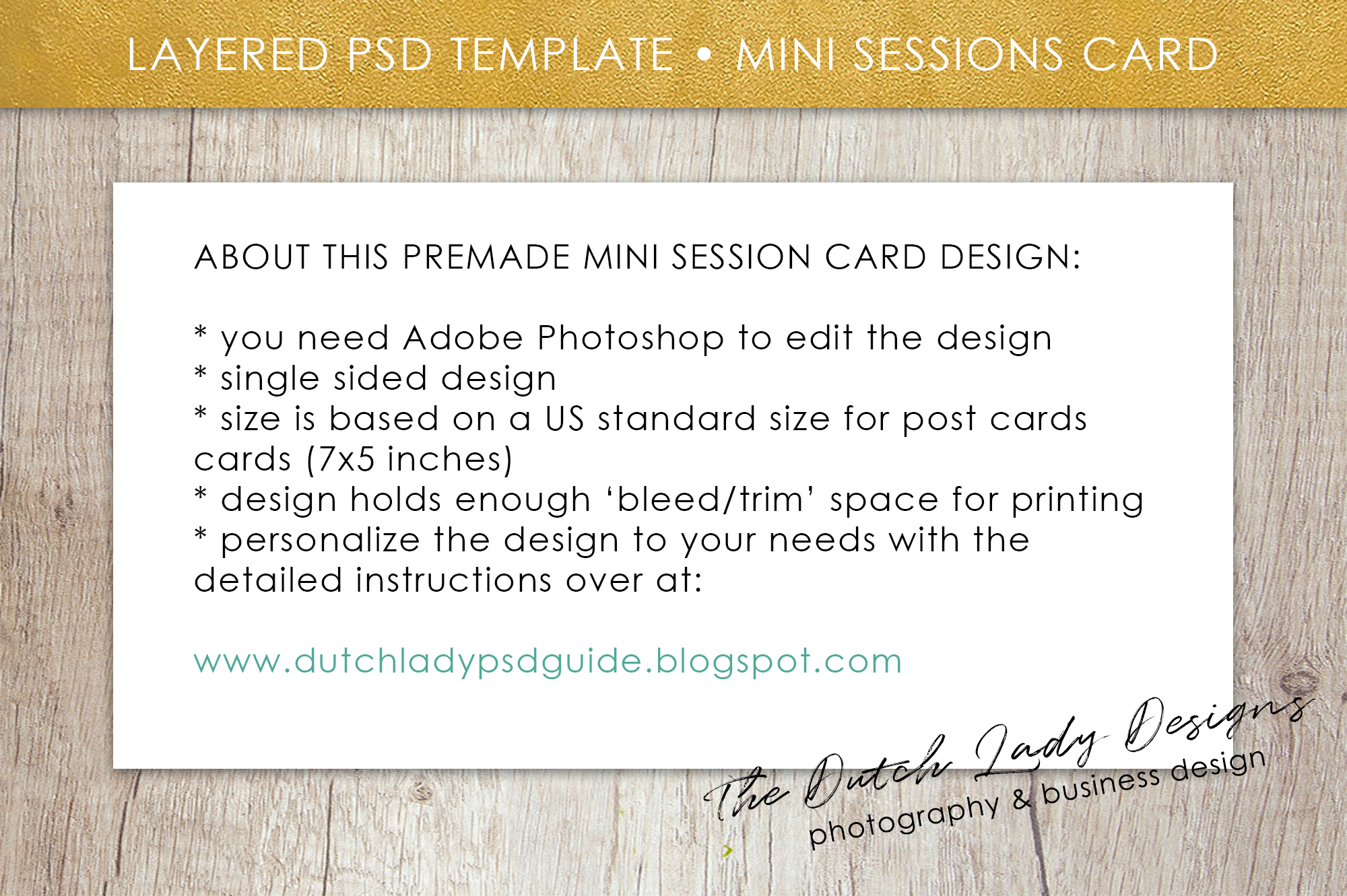 PSD Wedding Photo Session Card Template - Design #34 example image 5