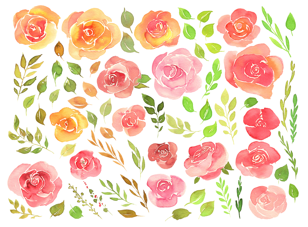Watercolor vintage roses set 72 png example image 2