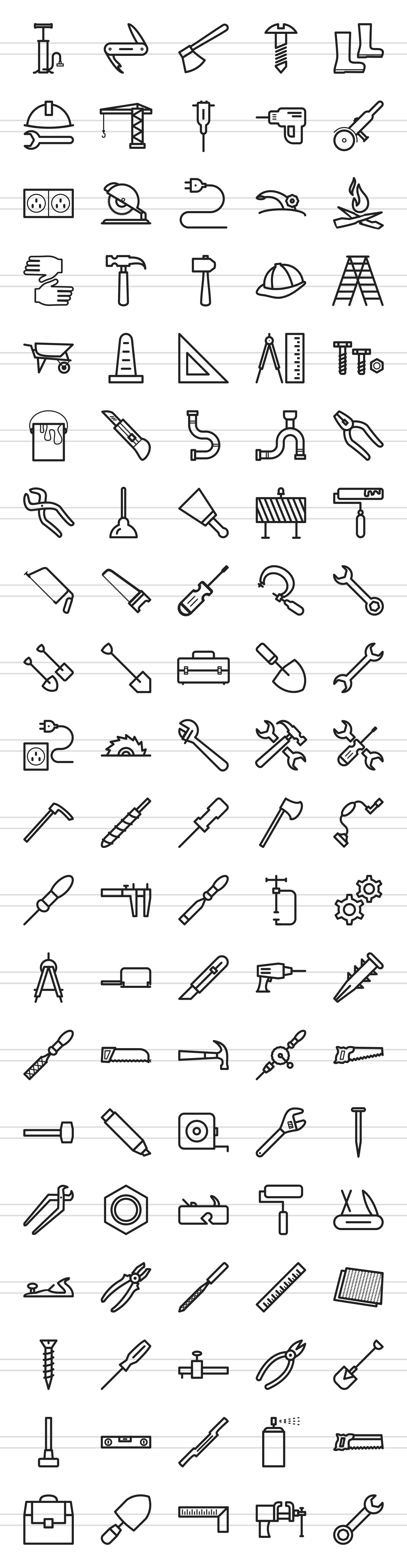 100 Tools Line Icons example image 2