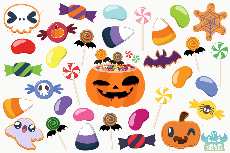 Halloween Candy Clipart, Instant Download Vector Art example image 2