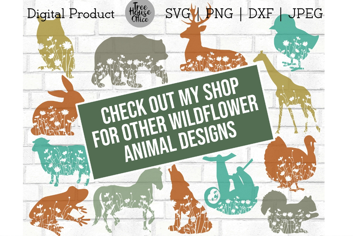Floral Animals Wildflower Nature Forest Flowers SVG PNG DXF example image 2