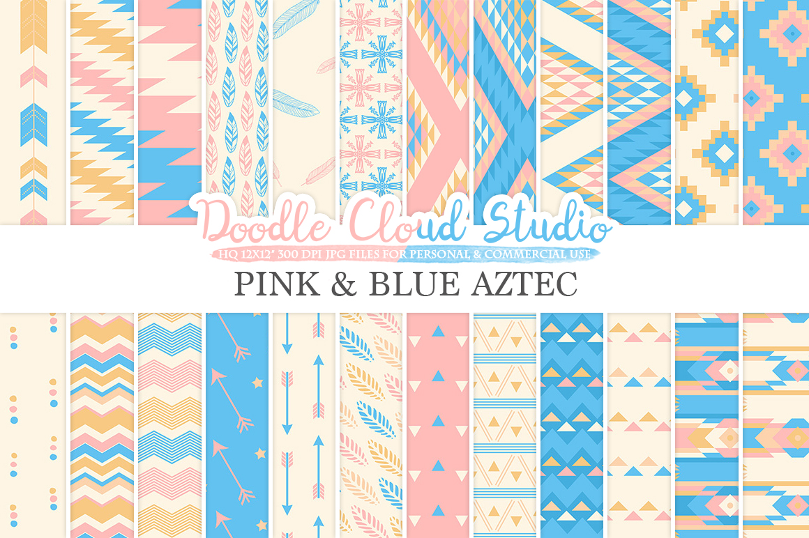 Pink and Blue Aztec digital paper ,Tribal patterns native triangles geometric ethnic arrows Azure backgrounds for Personal & Commercial Use example image 1