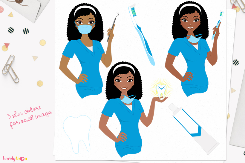 Dentist woman character clip art L400 Nelly example image 1