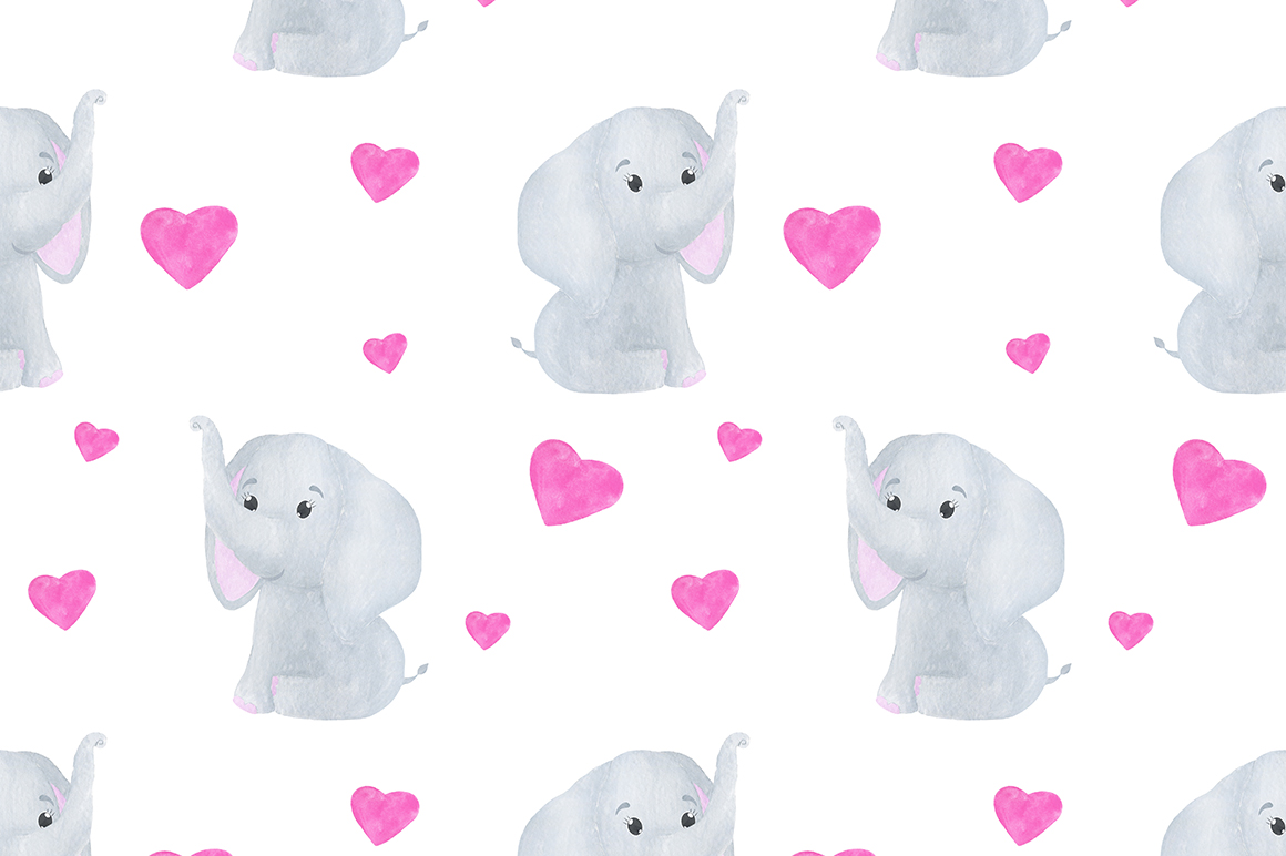 Set of illustrations of a cute little watercolor elephant example image 9