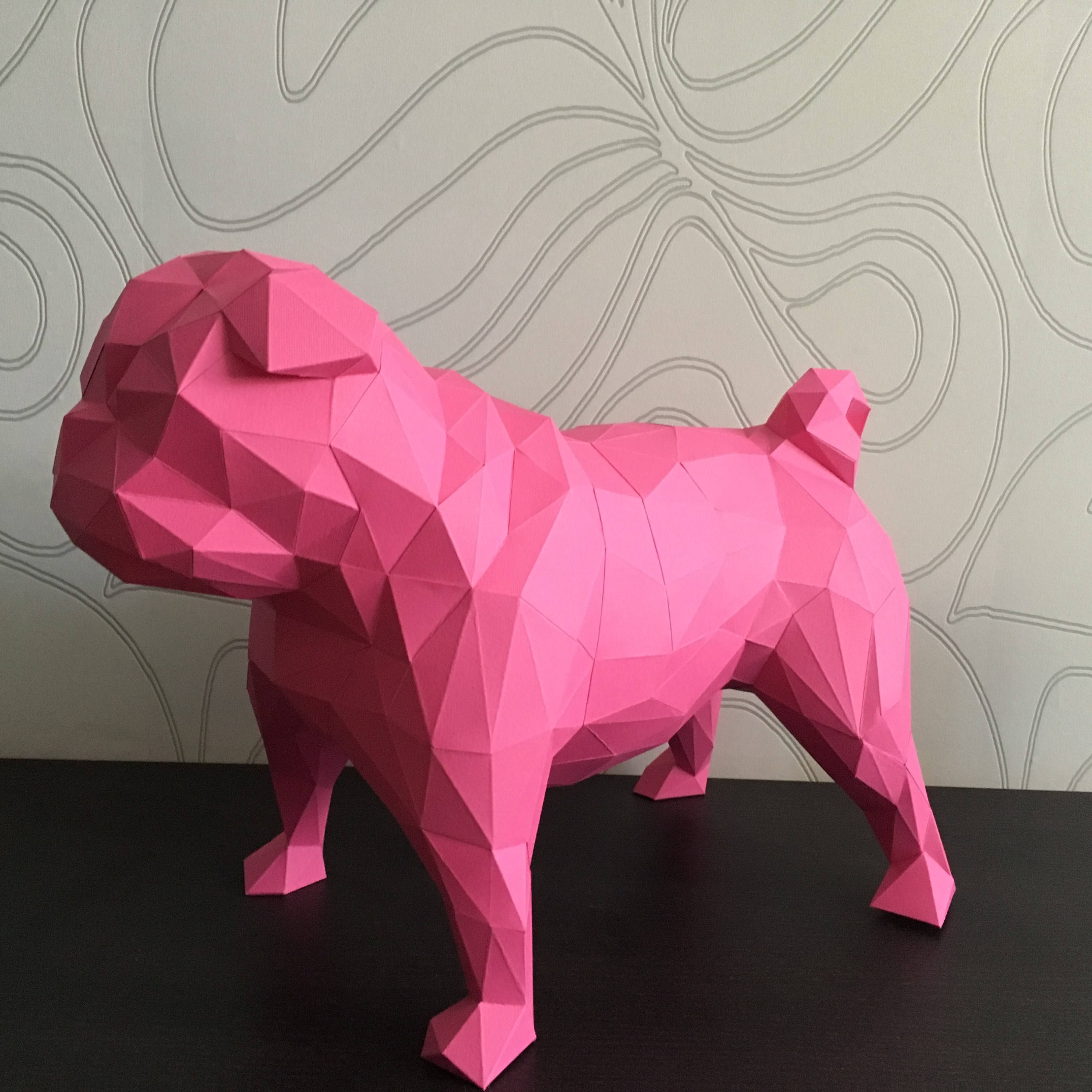 Pug Dog Papercraft, Paper Pug, Dog Statue, Puppy Pug, Paper Animals, Papertoy, Home Decor, Pug Dog, 3D papercraft model, lowpoly DIY, hobby example image 3