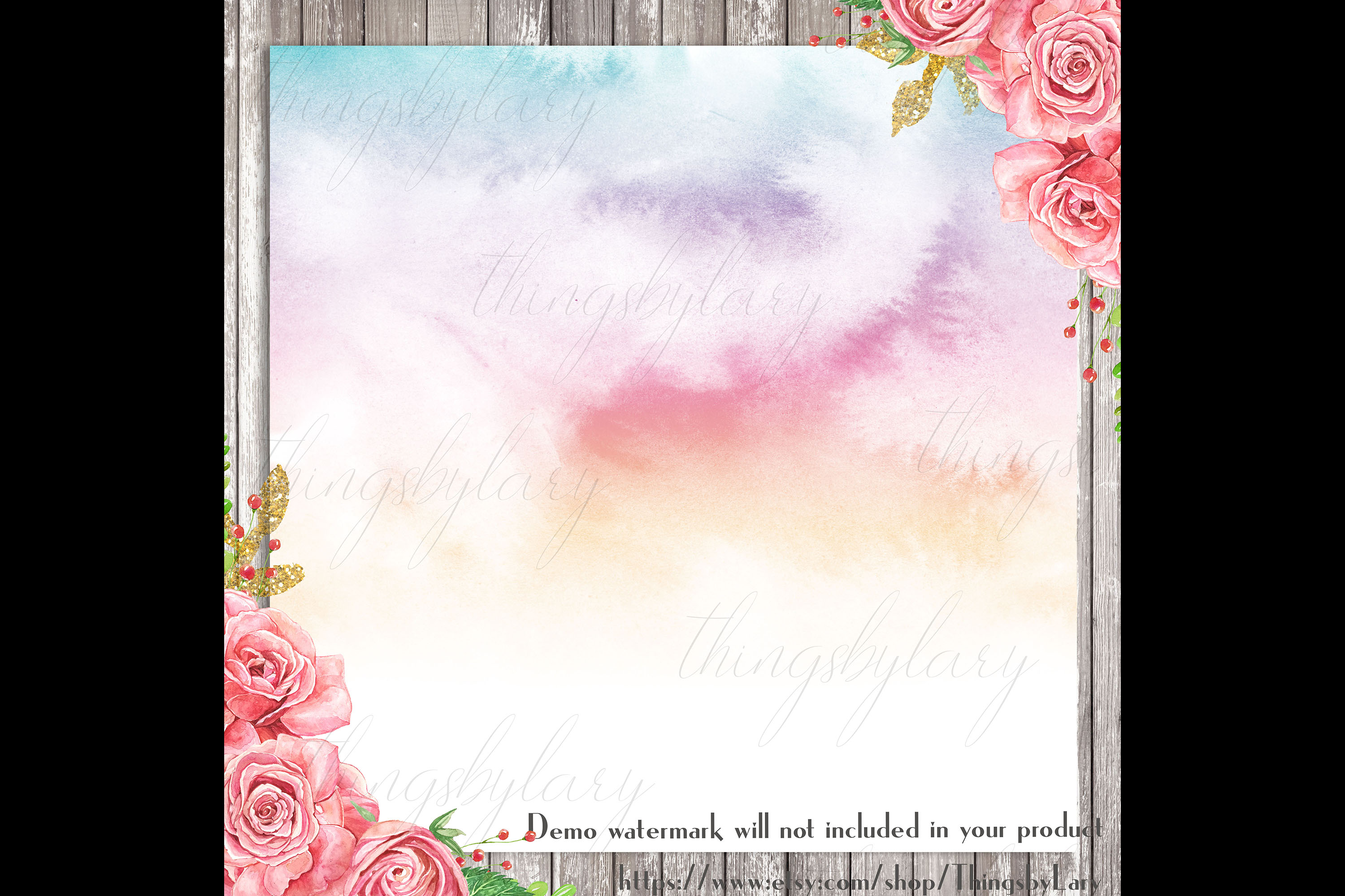 30 Watercolor Fairy Tale Cloudy Sky Baby Shower Paper Images example image 3