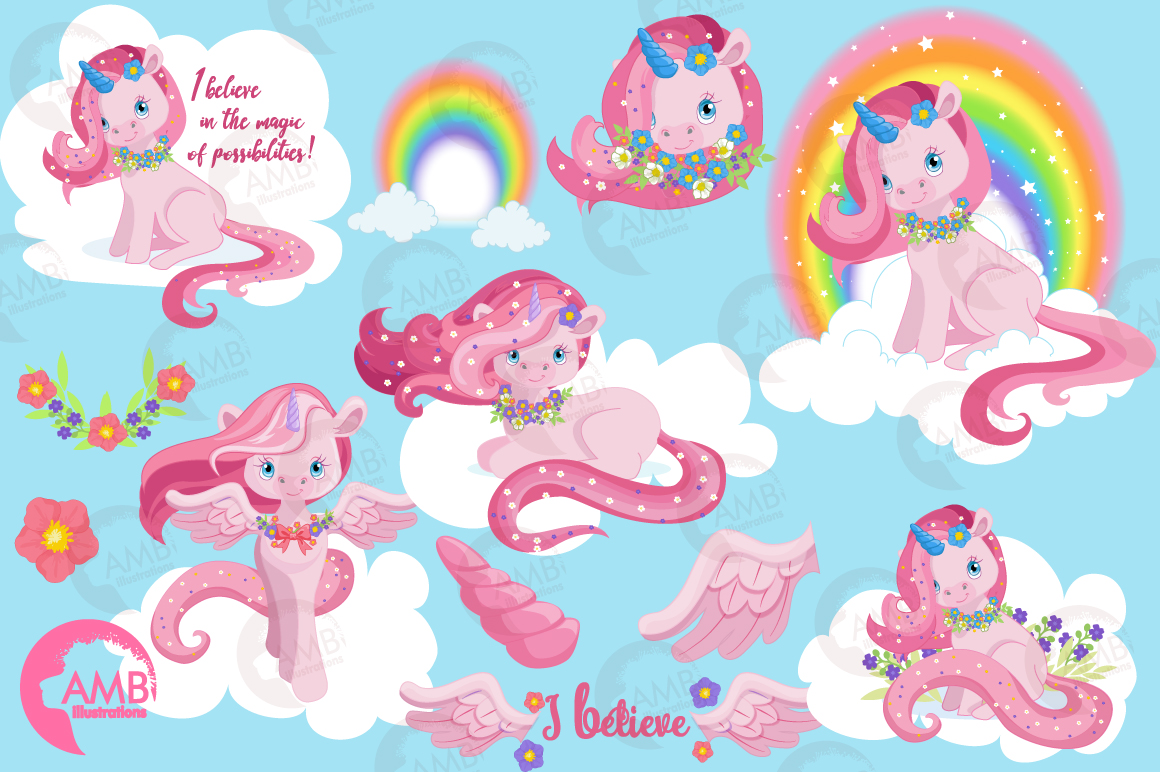 Magical Pink Unicorns clipart, graphics, illustrations AMB-1380 example image 5