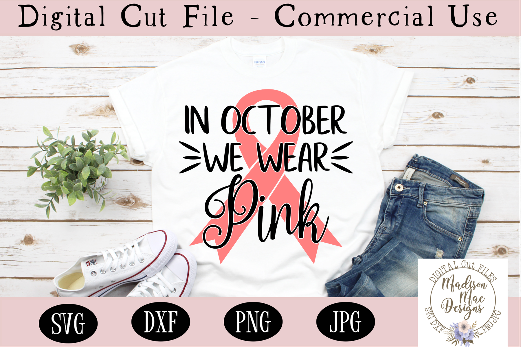 Breast Cancer SVG, In October We Wear Pink SVG example image 1