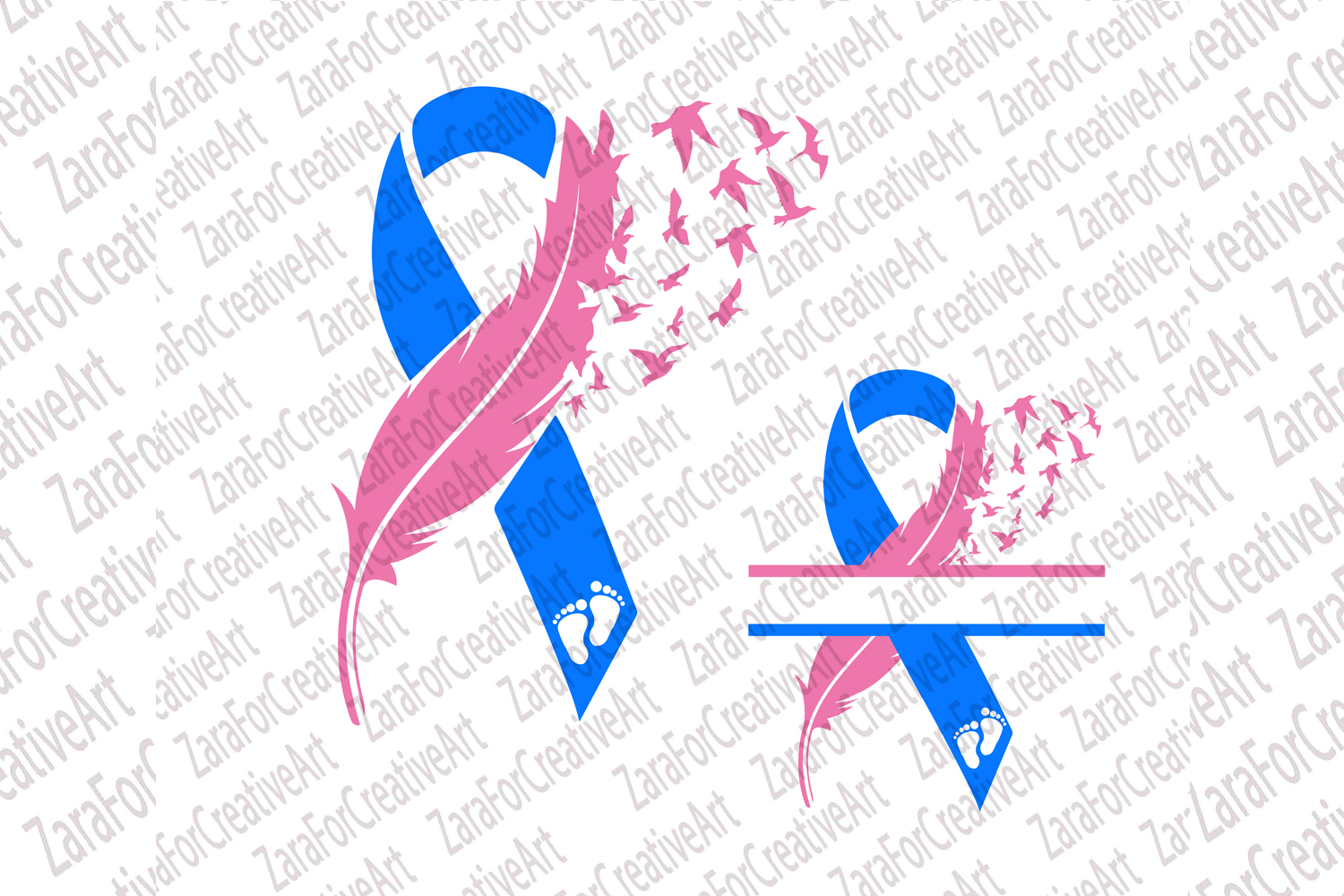 Miscarriage Infant Awareness Ribbon Feather with Birds SVG example image 1
