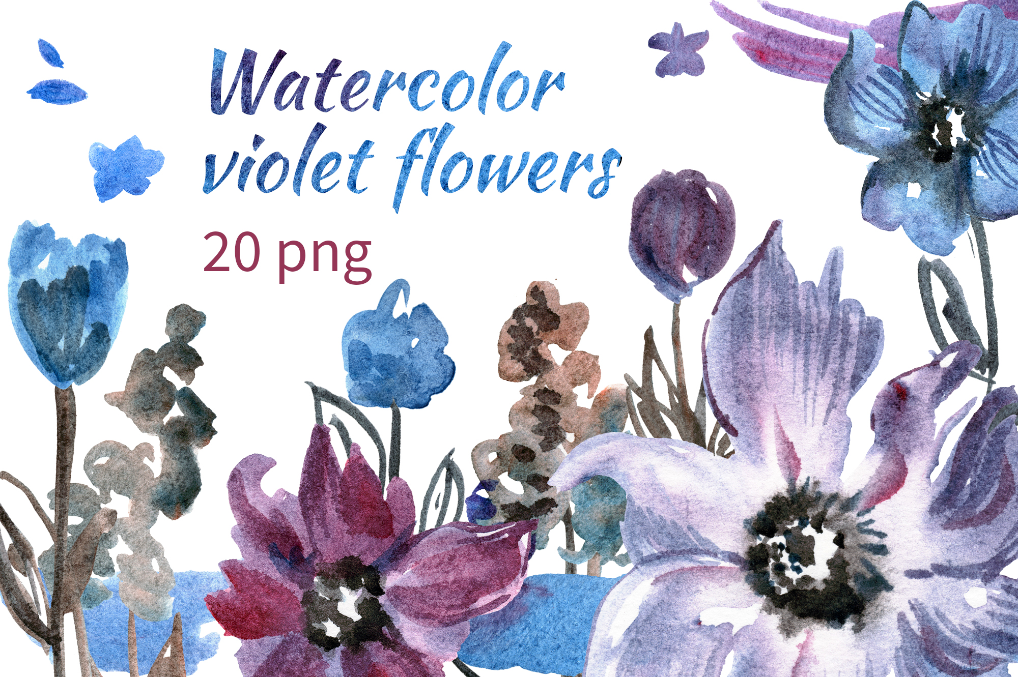 Watercolor violet flowers example image 1